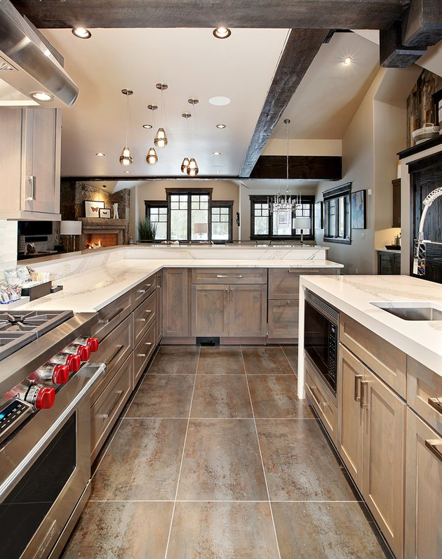 kitchen space with hardwood floor and wood cabinets