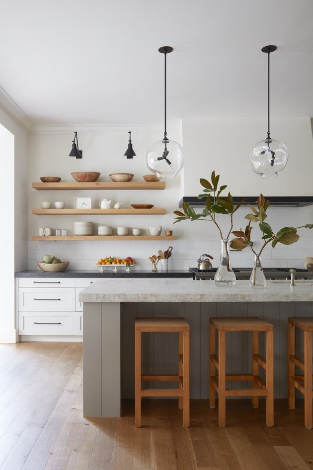 white and wood kitchen with grey kitchen island