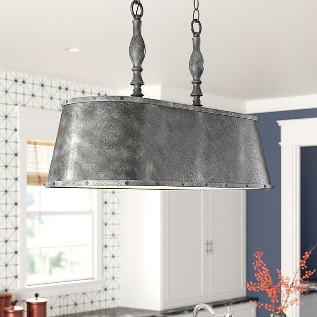 rustic pendant lighting with metal drum shade