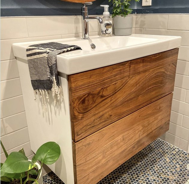 modern DIY bathroom vanity with wood panels