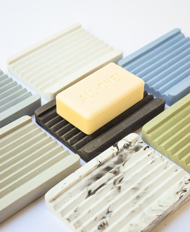 Concrete soap dishes in various colors