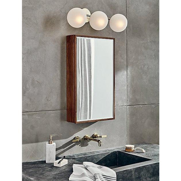 bathroom medicine cabinet with acacia wood frame