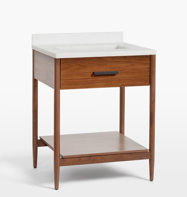 Walnut small bathroom vanity with minimalist details