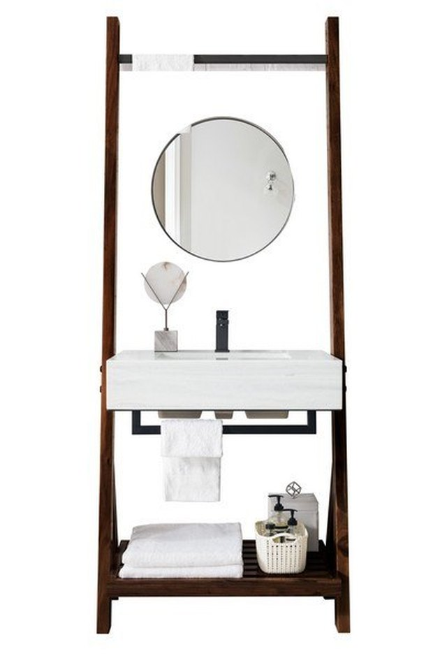 Ladder-style small bathroom vanity with white ceramic sink and storage