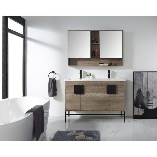 bathroom medicine cabinet with double mirror and storage shelf