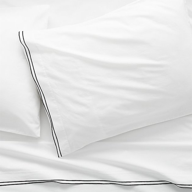 CB2 Black Stitch King Sheet Set and Two King Pillowcases, $168.95