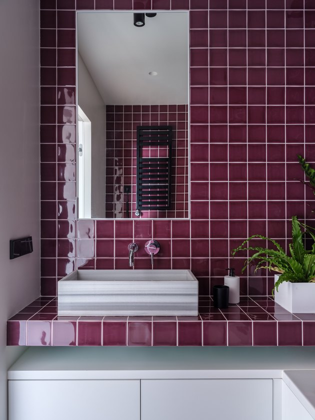 purple bathroom tile