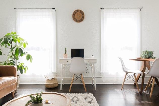 Scandinavian boho open plan living space