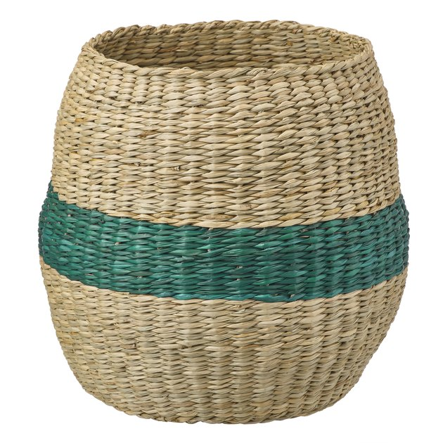 woven basket with green stripe