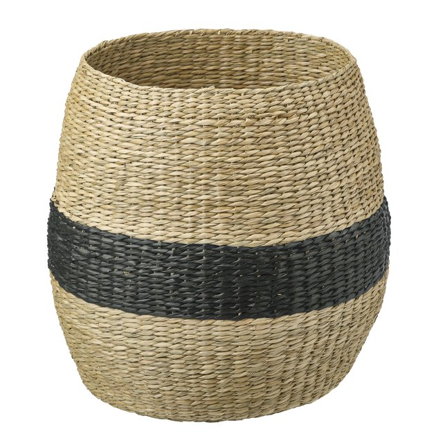 woven basket with black stripe