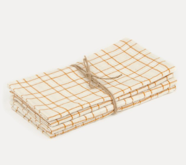 Heather Taylor Open Plaid Goldenrod Napkins (set of four), $82