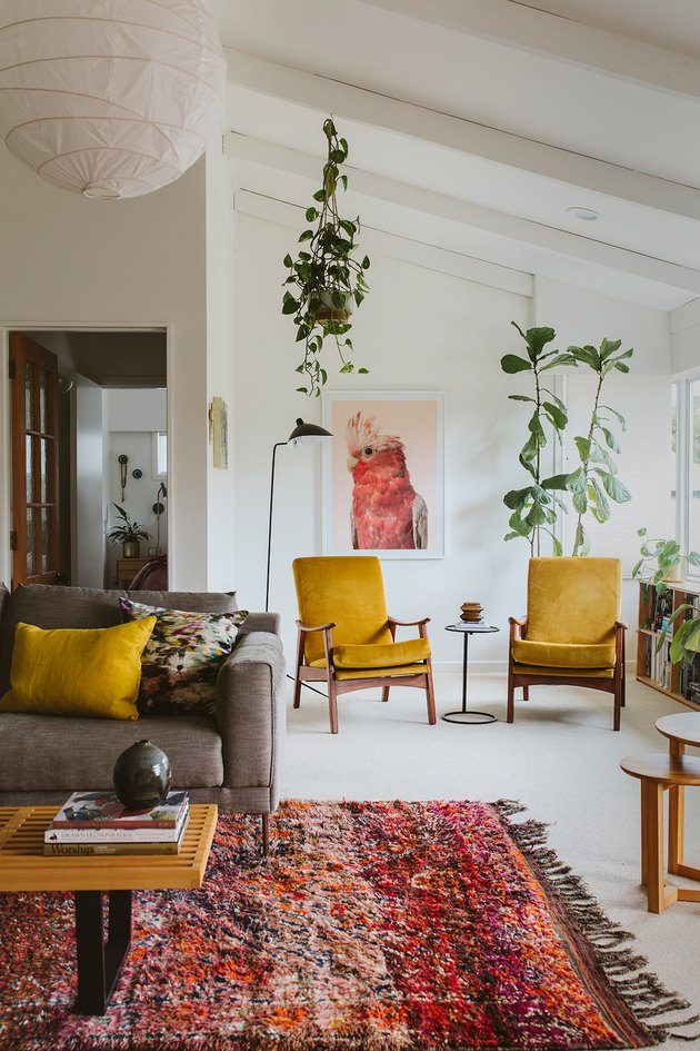 living room with pops of yellow