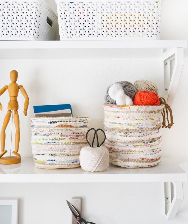 DIY storage baskets for shelving in small spaces
