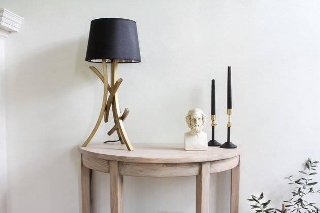 IKEA hack bleached demilune console table