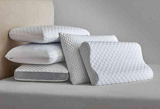 white textured pillows
