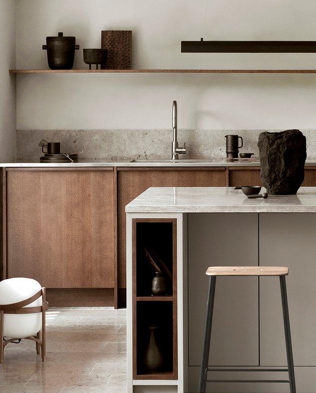 Kitchen island back panel idea with flat panels by Nordiska Kok