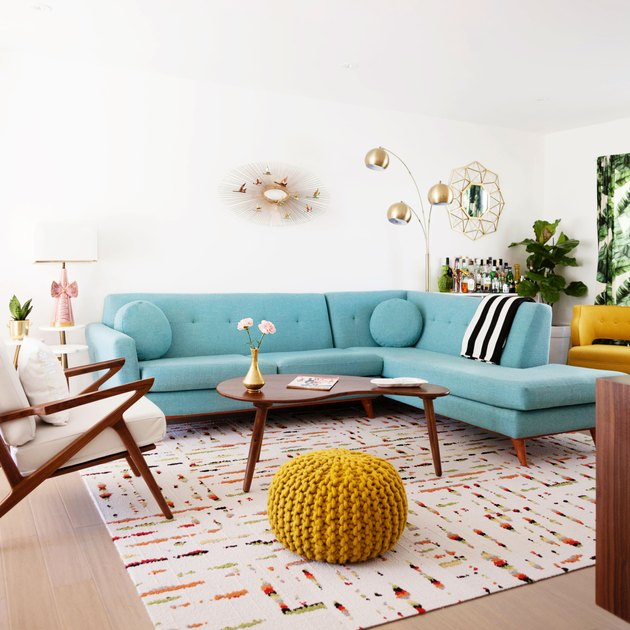 A vintage living room with bold colors