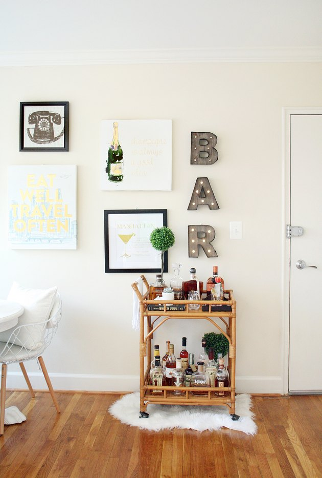 A rattan bar cart from Target