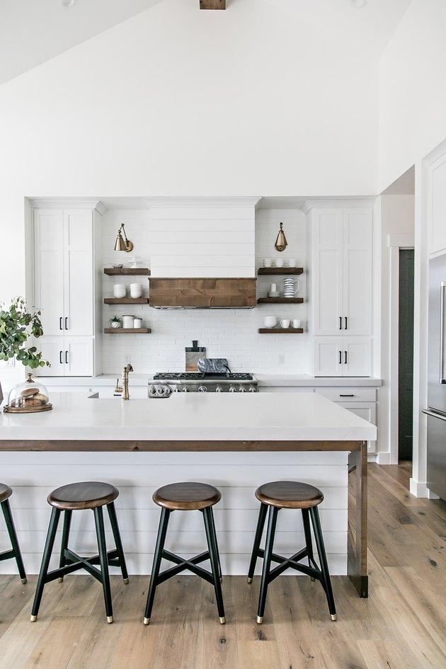 Kitchen island back panel idea with shiplap by Sita Montgomery Interiors