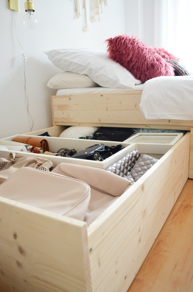 DIY bed with built-in storage for small bedroom