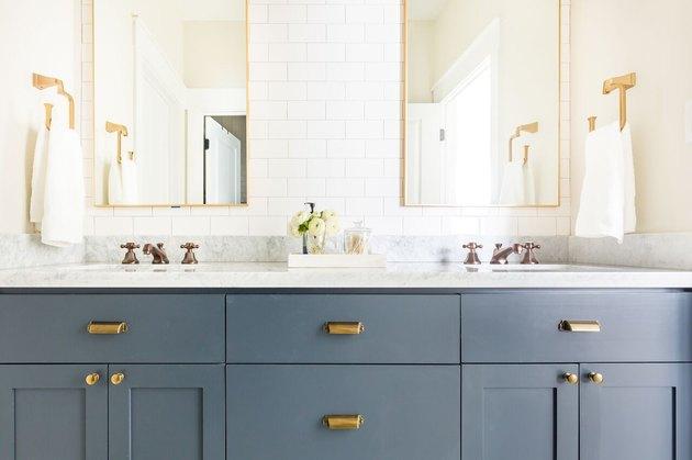 sky blue bathroom cabinets in contemporary bathroom