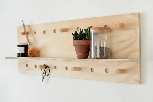 DIY pegboard shelf for small space storage