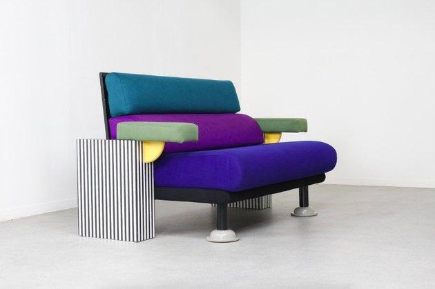 multicolored sofa in Memphis Design style, designed by Michele De Lucchi