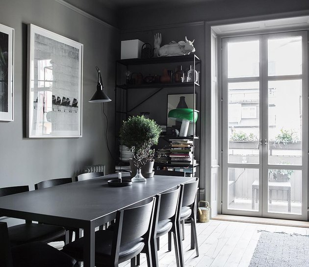 gray tone-on-tone dining room