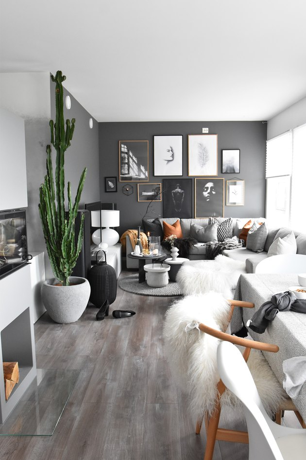 monochrome open concept living room in gray