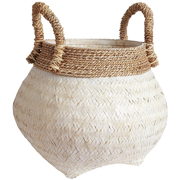 natural white wicker basket with handles