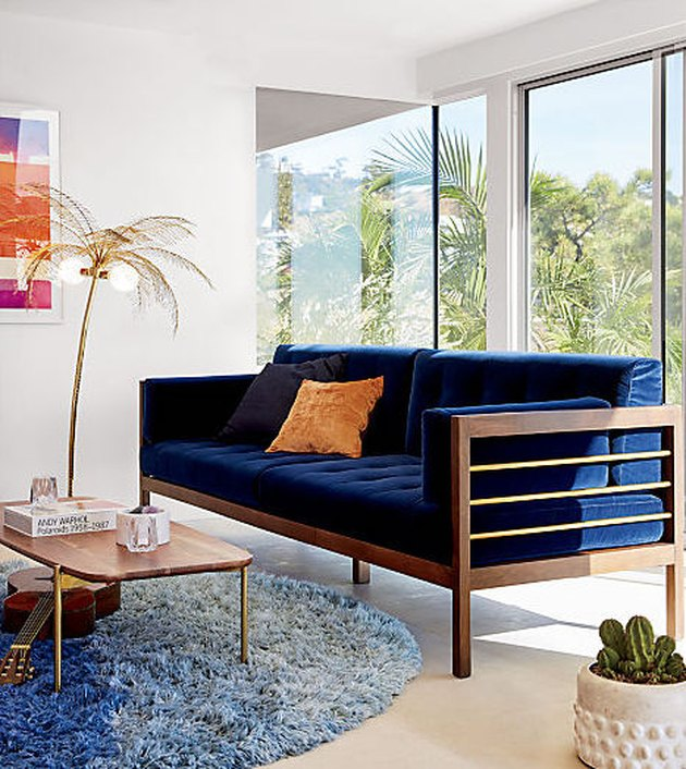 CB2 Hollywood Midnight Blue Sofa: Was $2,299, Now $1,949