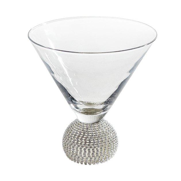 silver stembless martini glass