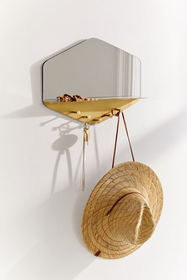 hexagon shaped wall mirror with shelf and hooks