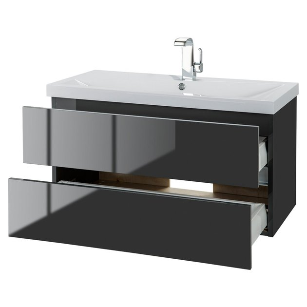 Minimal glossy black floating bathroom vanity