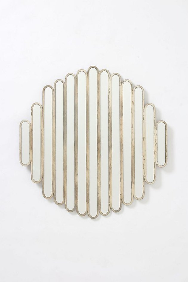 iron slatted wall mirror