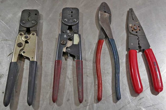 Collection of crimping tools.