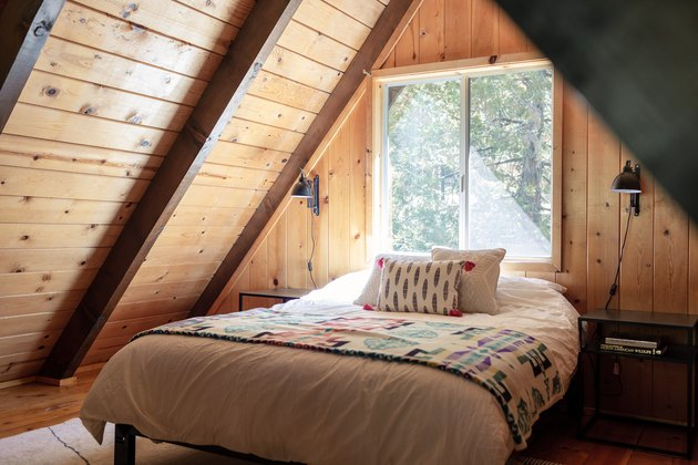 A-frame cabin bedroom
