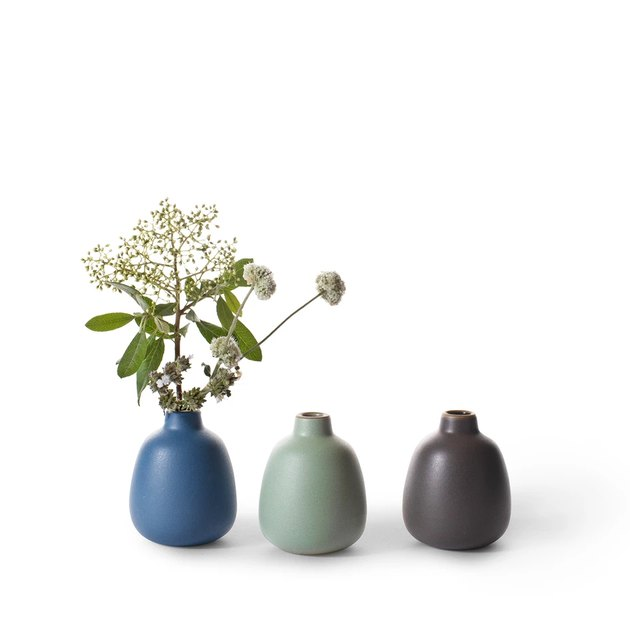set of three bud vases in different colors