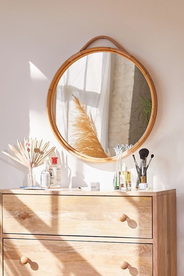 Urban Outfitters Corin Rattan Round Wall Mirror
