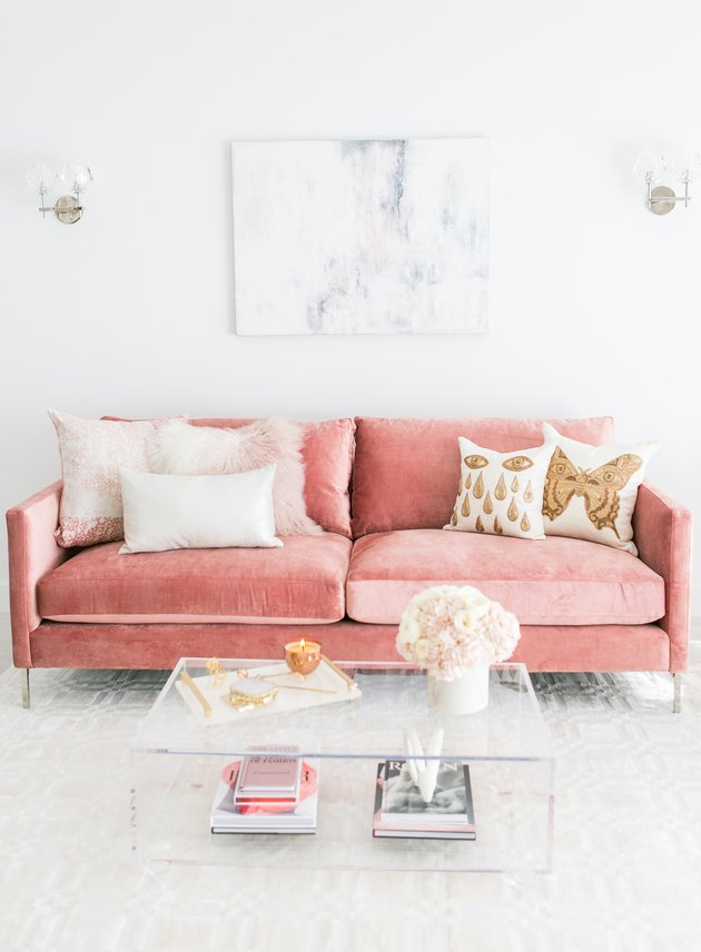living room with custom pink velvet sofa