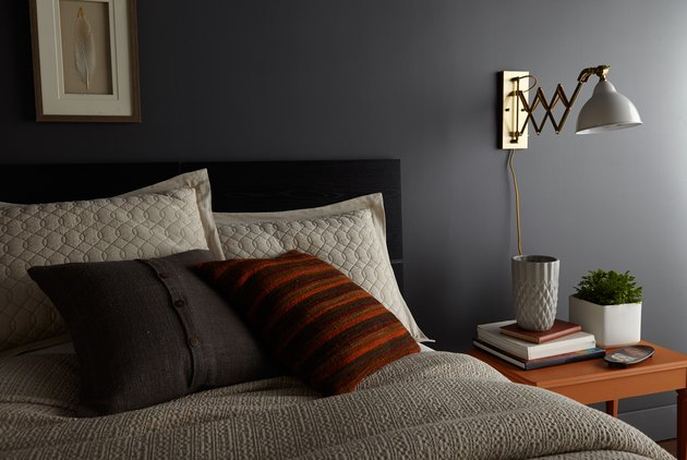 bedroom with charcoal gray wall