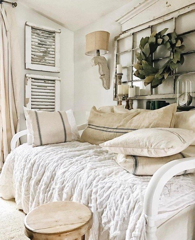 rustic bedroom lighting idea using repurposed decor