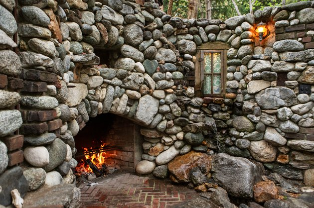 stone wall with fireplace