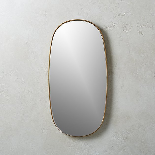 CB2 Rogue Small Brass Oval Mirror