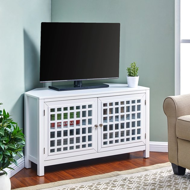 White corner TV unit