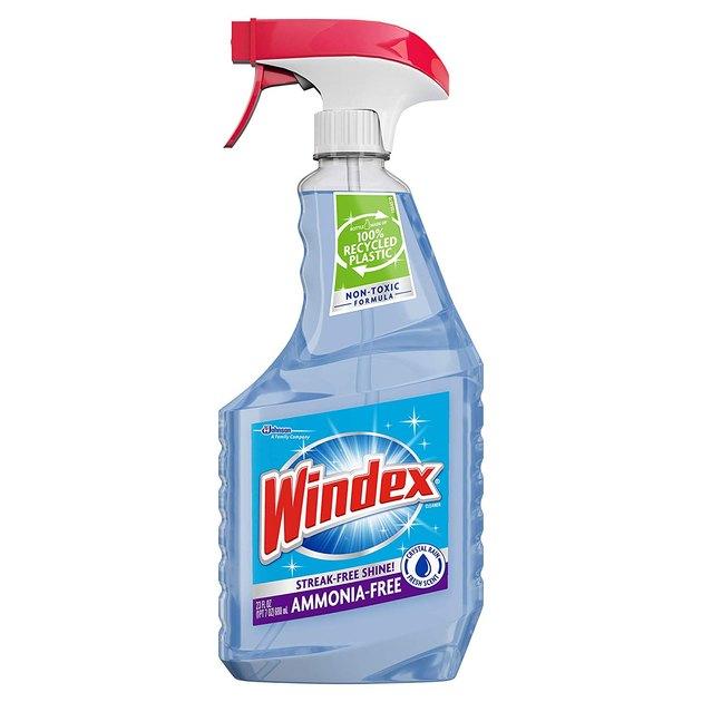 light blue glass cleaner