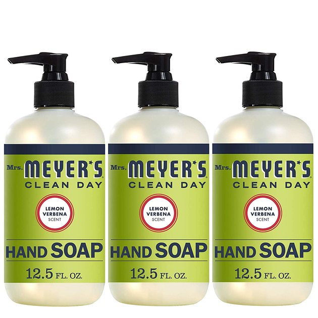 three-pack hand soap with green packaging