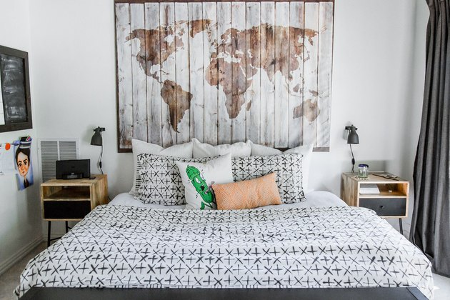 teen boy bedroom with map art