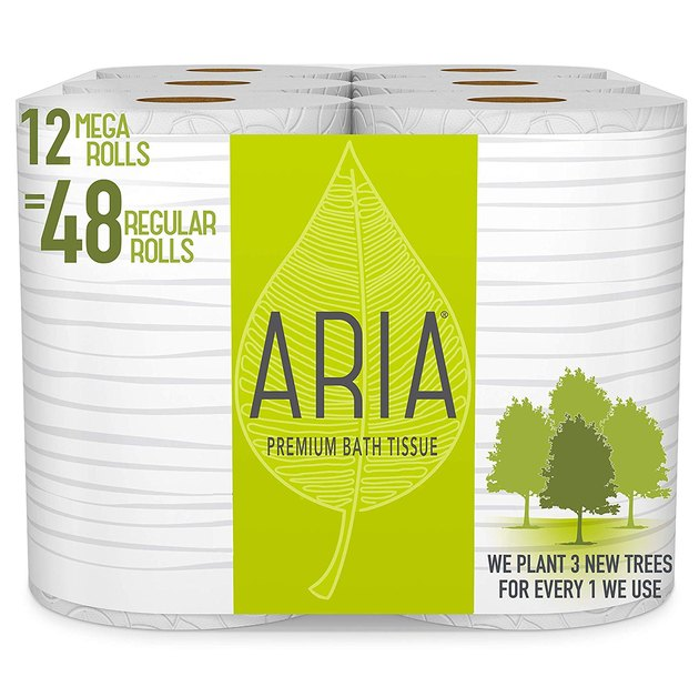 pack of toilet paper with green packaging
