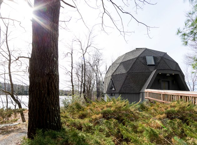 Exterior of  geodesic dome house